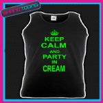 KEEP CALM AND PARTY IN CREAM CLUBBING STAG PARTY IBIZA HOLIDAY UNISEX VEST TOP